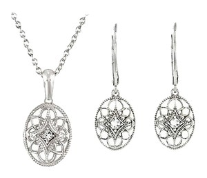 LoveBrightJewelry Sterling Silver Diamond Necklace and Lever Back Earrings Sets 0.09 CT TW