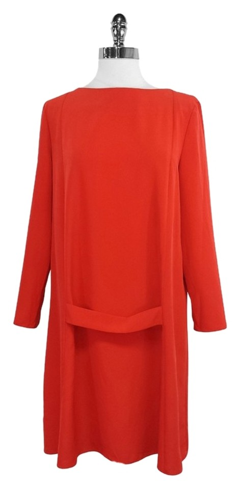 a4b0b35cfca Cacharel Red Long Sleeve Shift Mid-length Formal Dress Size 8 (M ...