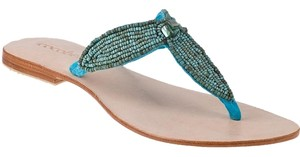 Cocobelle Leather Beaded Summer Turquoise Sandals