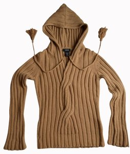 Express Hood Tassel Ribbed Brown Cable Sweater