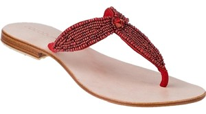 Cocobelle Leather Beaded Summer Sandal Coral - red Sandals