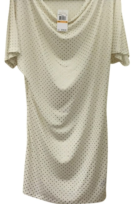 Item - Off White with Tiny Gold Studs Knee Length Night Out Dress Size 6 (S)