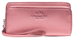 Coach COACH F 52718 LEATHER DOUBLE ZIP ACCORDION WALLET CLUTCH PURSE PINKF 52588 52718