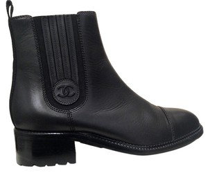 Chanel Leather Chelsea Black Boots