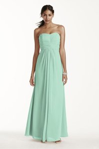 32d645db987 David s Bridal Mint Chiffon Strapless Feminine Bridesmaid Mob Dress Size ...