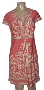 BCBGMAXAZRIA short dress Ivory/Coral Paisley on Tradesy
