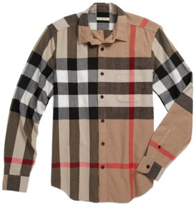 Burberry Button Down Shirt Plaid tan & black
