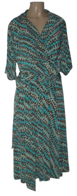 Item - Teal New For Maggy Boutique Multi Polyester Spandex Blend Matte 16w Mid-length Work/Office Dress Size 16 (XL, Plus 0x)