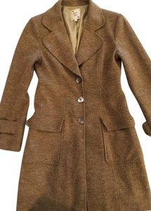 Nanette Lepore Wool Blend Cool Weather Coat Knee Length Nubbly Vintage Look Fully Lined Tan Jacket