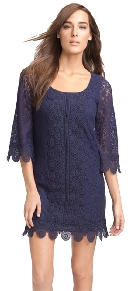 Laundry by Shelli Segal Navy Lace Overlay Shift Short Night Out Dress Size  4 (S) 84% off retail