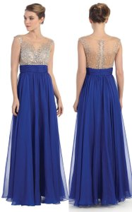 Royal Sequins Bejewel Mesh Bust Floor Length Formal Dress