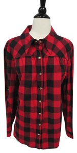Soft Surroundings Button Down Shirt Red Black