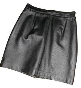Leather Size 8 Mini Skirt BLACK
