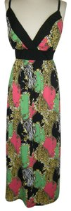 MULTI COLOR VIBRANT Maxi Dress by Allison Brittney New W/O Tags Built In Bra