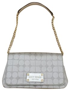 Kate Spade Fabric Leather Silver Clutch