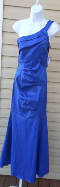 Maria Bonita Formal Gown One Shoulder Mermaid Stretchy Teal Sky Dress