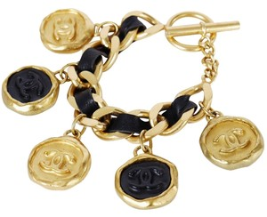 Chanel Chanel 2 Tone Charm Gold Chunky Bracelet Rare Vintage