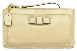 Coach Leather Fibisg Finish Wristlet in Gold