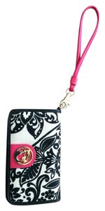 Spartina 449 Gold Emblem Closure Many Pockets For Credit Cards Money Holds Cellphone Black and light beige with hot pink trim Clutch