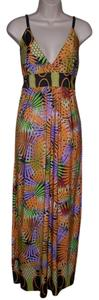 Multi Color Maxi Dress by Just Love Medium Orange Sleeveless Maxi Sexy Low Cut Sundress New