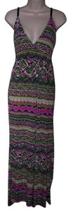 Multi Color Maxi Dress by Just Love Small Aztex