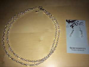 Swarovski Crystal and Pearl Necklace and Earring Jewelry Set