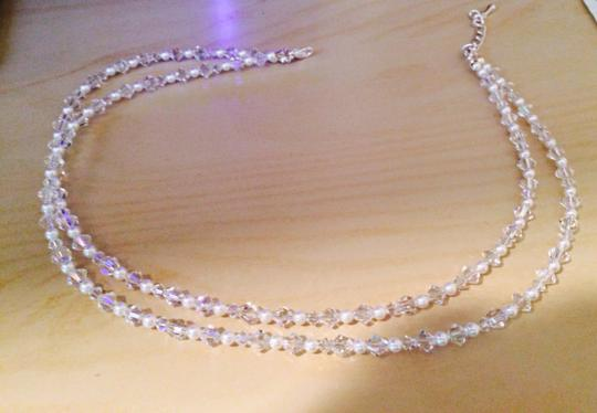 Bridal Swarovski Crystal And Pearl Necklace And Earring Set