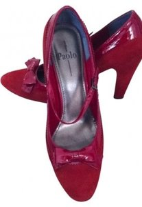 Linea Paolo red velvet and patent Pumps