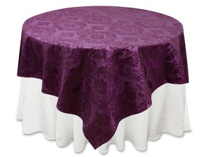 Tablecloths Factory Eggplant Damask Overlay 90 Tablecloth