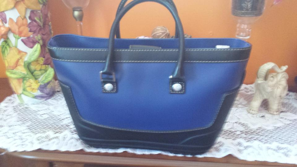 Michael Kors Rainy Day Blue Black Purse Rubber Soled