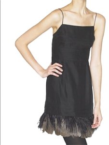 Juicy Couture Charmeuse Feathered Detail Slip Dress