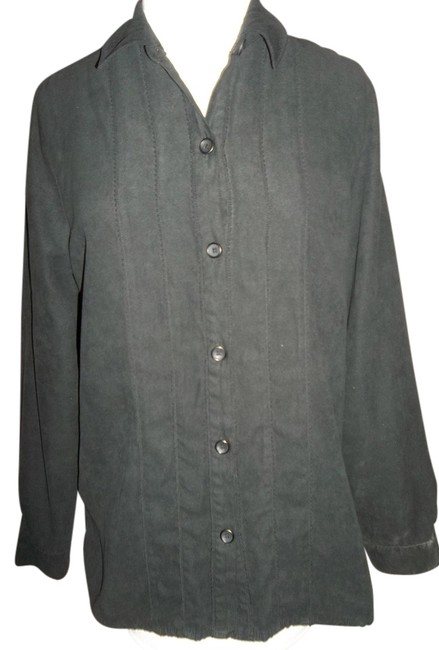 Studio Works Career Casual Longsleeve Petite Large Pintucks Top Black
