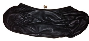 BCBGMAXAZRIA Evening Silver Hardware Leather Classic Black Clutch