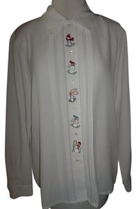 Joanna Medium Embroidered Longsleeve Buttondown Top White