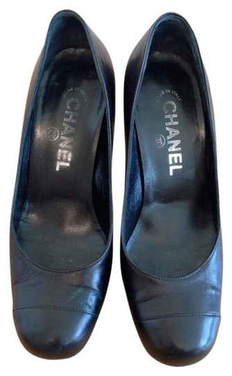 Chanel Cc Logo Heels Leather Heels Black Pumps