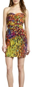Charlie jade Print Mini Strapless Empire Waist Sweetheart Silk Dress