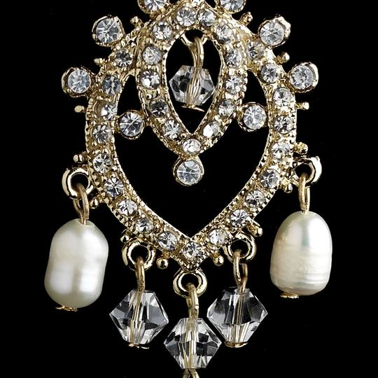 Elegance By Carbonneau Gold Plated Freshwater Pearl And Rhinestone Chandelier Earrings