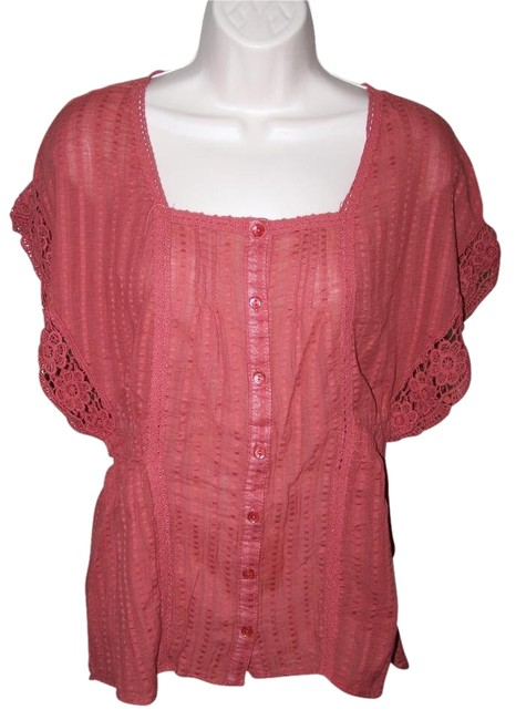 Maurices Medium Short Sleeve Lace Button Down Shirt Dk. Copper