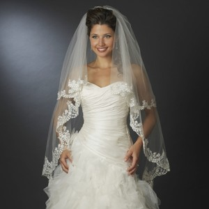 Elegance By Carbonneau Two Layer Knee Length Wedding Veil With Floral Embroidery