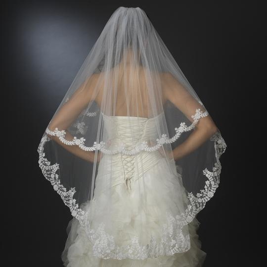Elegance by Carbonneau Ivory Medium Two Layer Knee Length with Floral Embroidery Bridal Veils
