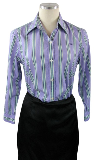 Preload https://img-static.tradesy.com/item/776520/ralph-lauren-purple-green-striped-cotton-button-down-top-size-4-s-0-0-650-650.jpg