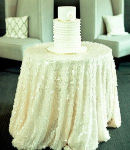 108 White Sequin Tablecloth