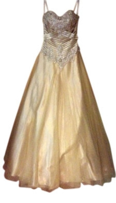 Precious Formals Strapless Beaded Full Skirt Dress