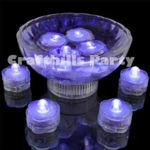 48 Pcs Led Purple Submersible Waterproof Wedding Floral Centerpiece Party Decoration Tea Candle Vase Light
