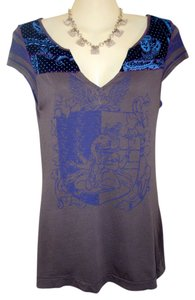 Free People T Shirt Taupe/Royal Blue