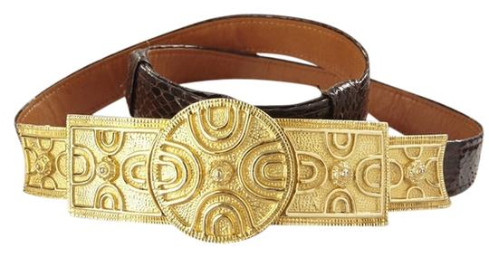 Alexis Kirk Alexis Kirk Chocolate Brown Snake Skin Belt