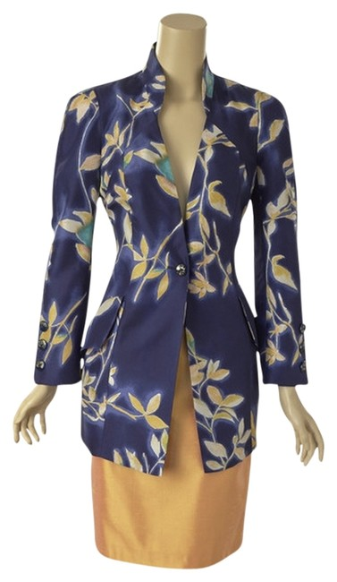 Preload https://item4.tradesy.com/images/christian-lacroix-blue-and-gold-silk-floral-jacket-w-skirt-suit-size-4-s-776948-0-0.jpg?width=400&height=650