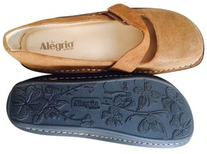 Alegria's Brides Tan suede with gold sparkles Mules