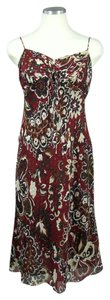 Ann Taylor short dress Gold Burgandy Black Pettite Spring Silk Strappy on Tradesy