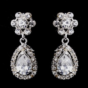 Silver Delightful Cubic Zirconia Floral Earrings